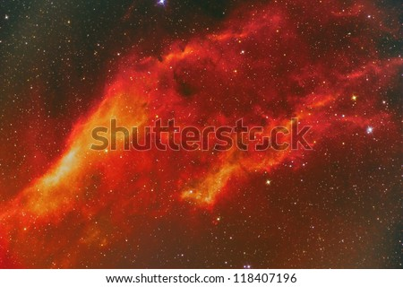 emission nebula in constellation Perseus - stock photo