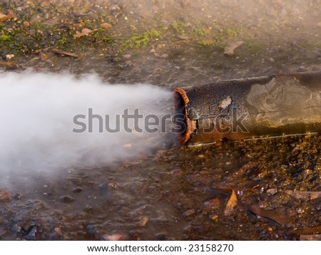 Emission of steam from a pipe