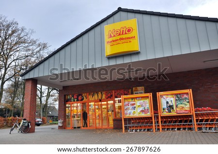 EMLICHHEIM, GERMANY - NOVEMBER 13, 2010: Netto Marken-Discount is a German supermarket chain, part of Edeka Group. The Netto Marken-Discount retail concept is to offer well-known brands at low prices - stock photo