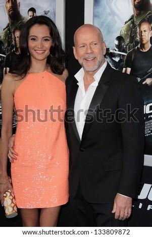 "Emma Heming, Bruce Willis at the ""G.I. Joe: Retaliation"" Los Angeles Premiere, Chinese Theater, Hollywood, CA 03-28-13 - stock photo"