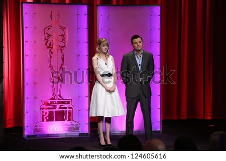 Emma Stone and Seth McFarlane at the 85th Academy Awards Nominations Announcement, AMPAS Samuel Goldwyn Theater, Beverly Hills, CA 01-10-13 - stock photo