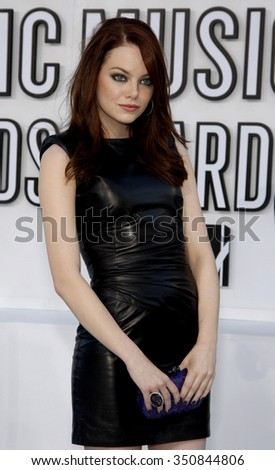 Emma Stone at the 2010 MTV Video Music Awards held at the Nokia Theatre L.A. Live in Los Angeles, USA on September 12, 2010. - stock photo