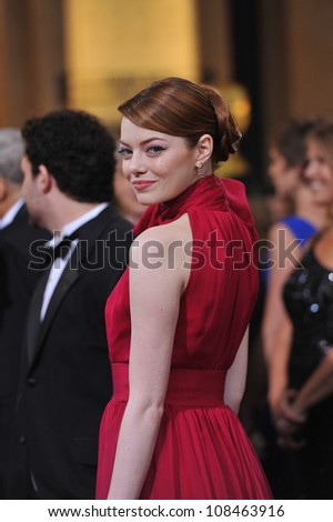Emma Stone at the 84th Annual Academy Awards at the Hollywood & Highland Theatre, Hollywood. February 26, 2012  Los Angeles, CA Picture: Paul Smith / Featureflash - stock photo