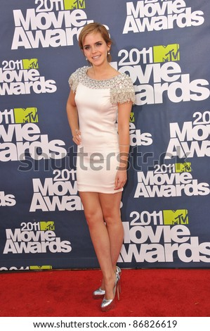 Emma Watson arrives at the 2011 MTV Movie Awards at the Gibson Amphitheatre, Universal Studios, Hollywood. June 5, 2011  Los Angeles, CA Picture: Paul Smith / Featureflash - stock photo