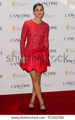 Emma Watson arriving for the Lancome pre BAFTA party at the Savoy Hotel in London, 10/02/2012  Picture by: Simon Burchell / Featureflash - stock photo
