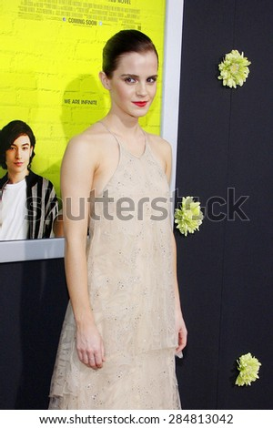 Emma Watson at the Los Angeles premiere of 'The Perks Of Being A Wallflower' held at the ArcLight Cinemas in Hollywood on September 10, 2012.  - stock photo