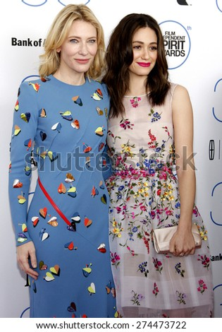 Emmy Rossum and Cate Blanchett at the 2015 Film Independent Spirit Awards held at the Santa Monica Beach in Santa Monica on February 21, 2015.  - stock photo
