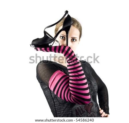 EMO girl and shoe - stock photo