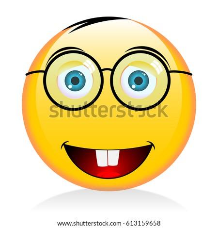 emoji emoticon nerd computer maniac geek stock