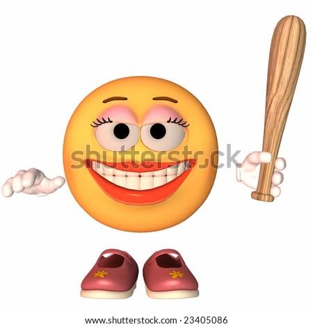 Emoticon Baseball - stock photo