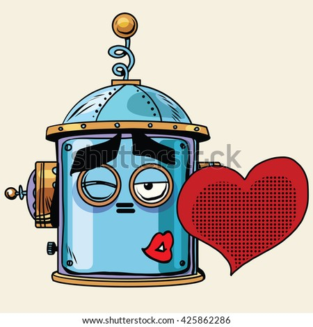 emoticon love kiss emoji robot head smiley emotion - stock photo