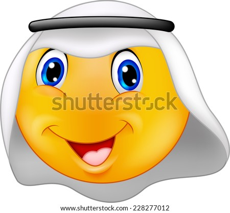 Emoticon smiley with Arabic dress - stock photo