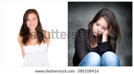 Emotion concept, two portraits of the same young woman, right photo: sad and depressed, left photo: positive and happy - stock photo