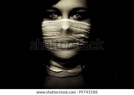 emotion expression dark girl face, bright eyes - stock photo