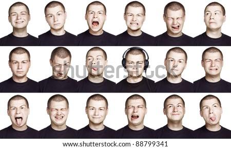Emotion face of a man - fine-art portrait - stock photo