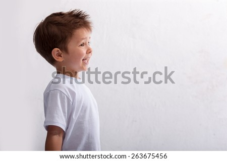 Emotion, laughter, joy, delight, the little boy  - stock photo