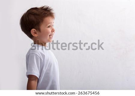 Emotion, laughter, joy, delight, the little boy  - stock photo
