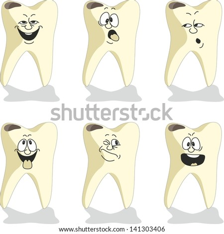 Emotion tooth cartoon set 009 - stock photo