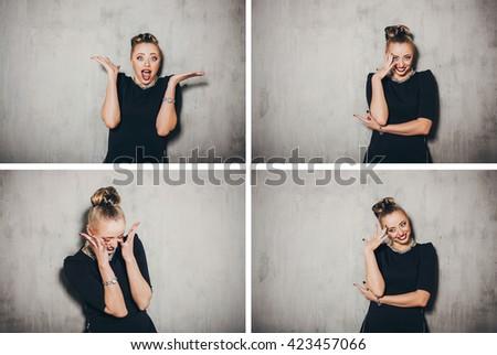 Emotion woman portrait. Woman secret. Surprised.Smile. Emotion concept.Collage. - stock photo