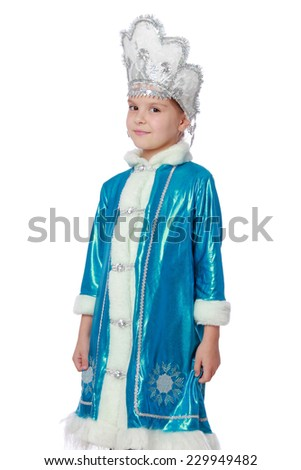 Emotional cheerful little girl in a nice suit Russian Snow Maiden on a white background on Christmas - stock photo