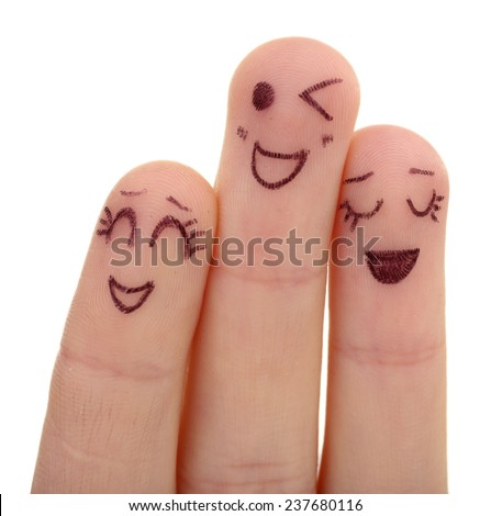 Emotional fingers isolated on white - stock photo