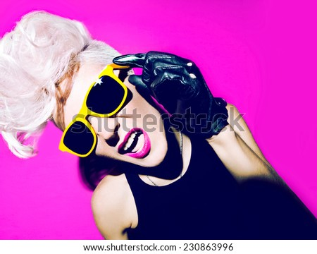 Emotional glamorous Blonde Disco Punk fashion style - stock photo