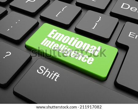 Emotional Intelligence Concept. Button on Background in Flat Design Style. - stock photo
