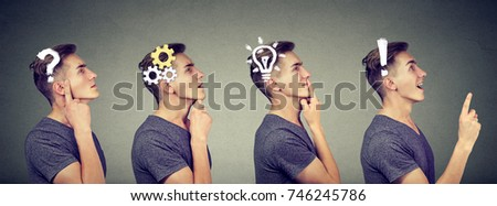 Emotional intelligence. Side view sequence of a man thoughtful, thinking, finding solution with gear mechanism, question, exclamation, lightbulb symbols. Human face expression