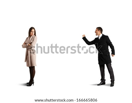 emotional man screaming at sad woman. isolated on white background - stock photo