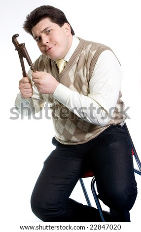 emotional plumber with a wrench - stock photo