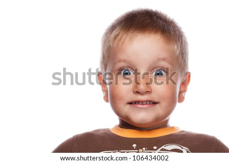 emotional portrait of a child on white background - stock photo