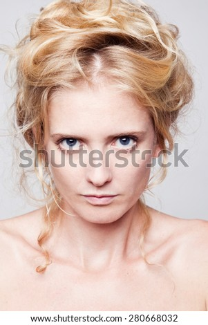 emotional portrait of a woman - stock photo