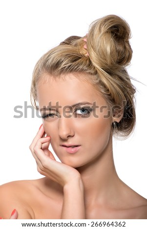 Emotional portrait of a young blonde. Studio. Isolated on white background - stock photo