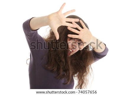 Emotional portrait of abused, beautiful, teen, caucasian woman in underwear - violence concept, high emotional - stock photo