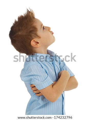 Emotional portrait of little boy . isolated on white