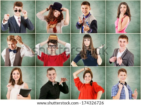 Emotional portraits diverse young people - stock photo