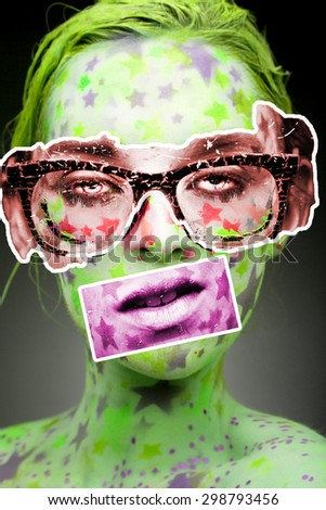 Emotional sensual portrait of a woman with stars on the face and painted hair in light green. Pop art collage - stock photo