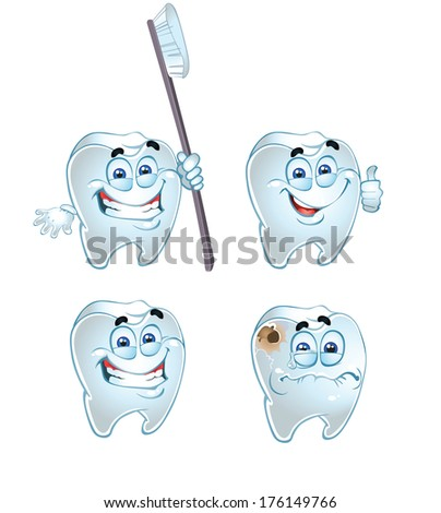 emotional teeth isolated on a white background - stock photo