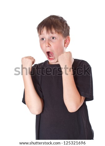 emotionally happy boy on a white background - stock photo