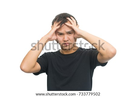 emotions and people concept - asian man has stressed  isolated on white background with clipping path