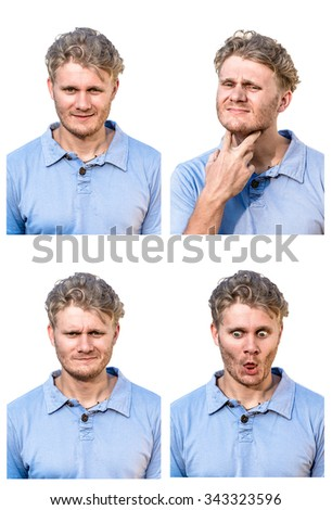 emotions collage, emotions man, - stock photo