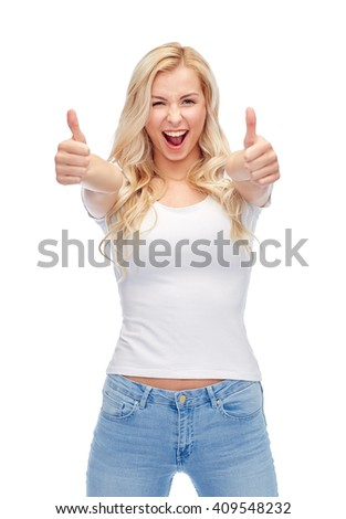 emotions, expressions, advertisement and people concept - happy smiling young woman or teenage girl in white t-shirt showing thumbs up with both hands - stock photo