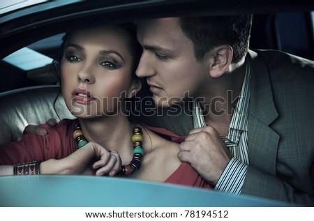 Emotive portrait of a gorgeous young couple - stock photo