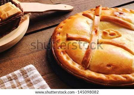 Empanada Gallega, Traditional pie stuffed with tuna or meat typical from Galicia, Spain - stock photo