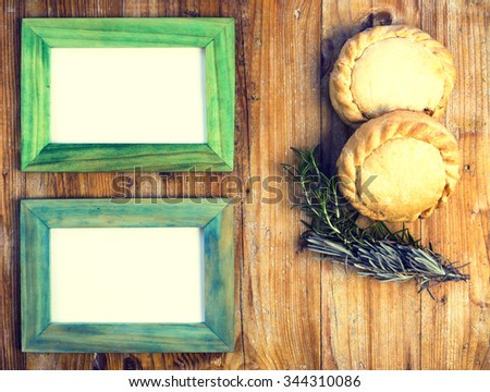 empanada mallorquina, traditional food from Majorca and frame - stock photo