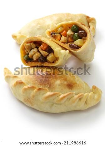 empanadas de pollo, chicken empanada, argentina food - stock photo