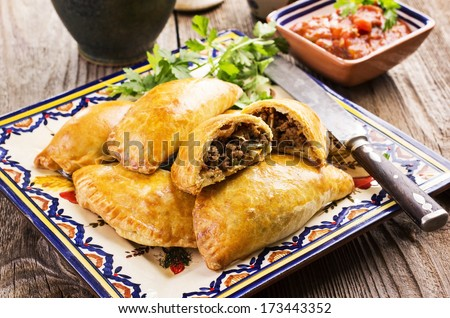 empanadas with ground meat - stock photo