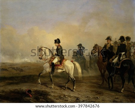 Emperor Napoleon I and his Staff on Horseback, Horace Vernet, c. 1815-50, French oil painting. In the distance is the smoke from a battle of the Napoleonic Wars - stock photo