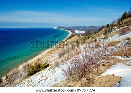 Empire Bluff , Sleeping Bear Dunes National Lake shore in Winter - stock photo