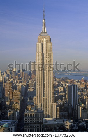 Empire State Building at sunrise, New York City - stock photo